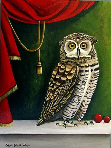 art, owl, Audubon, paintings, interior design, red curtain