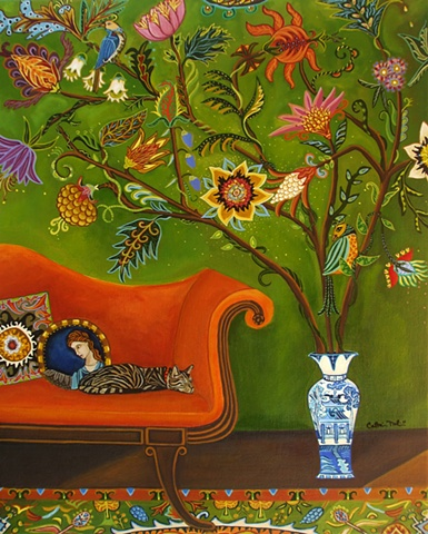 botanical cats couches painting