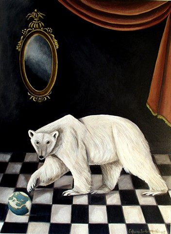 art, painting, climate change, neoclassical art, polar bear, checkerboard, curtains, catherine nolin