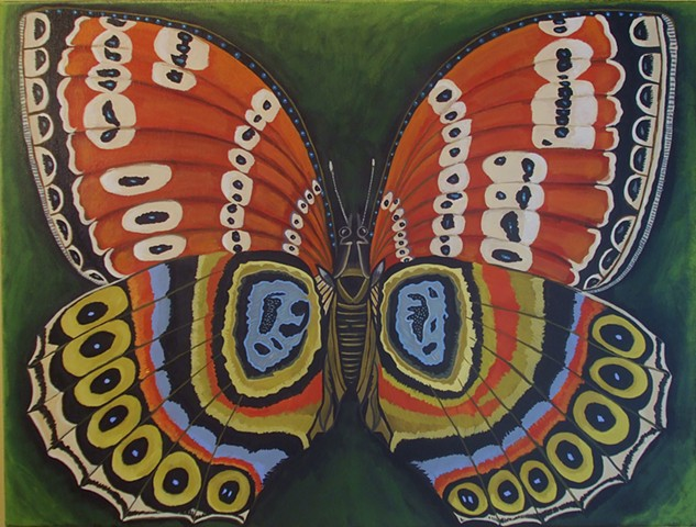 butterfly painting, floral, catherine nolin art, oroginal painting, wall art, larger canvas, cabinet of curriosities