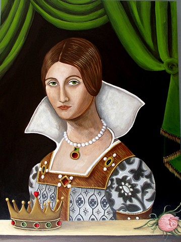 art, queen, baffled king, leonard cohen, portrait of a queen, crown, catherine nolin