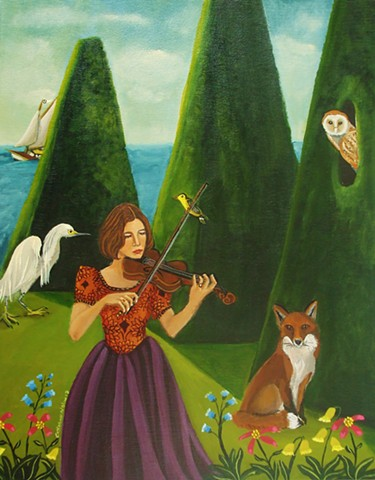 art, painting of violin , landscape, catherine nolin, the ocean, sea, sailboat painting, animal painting, fox painting.