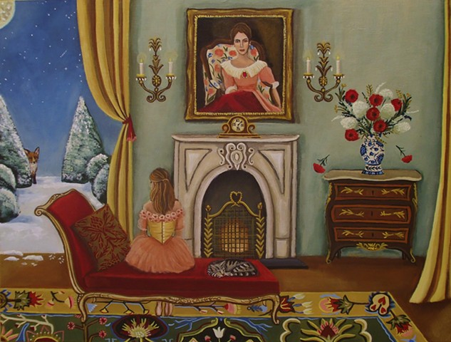 art , painting, catherine nolin, interior room painting, pink interior, paris, bouquet of flowers, chandelier