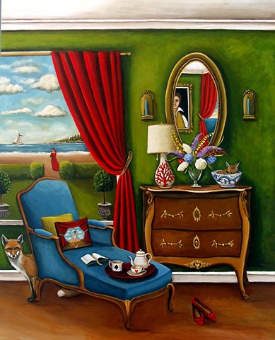 art, painting, Magritte , surreal, bowler cap, owls, barn owls, Audubon, clouds, catherine nolin, paintings for sale, emerging artist