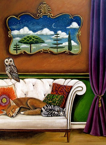 art, painting, fox, interior design, cat, sleep study