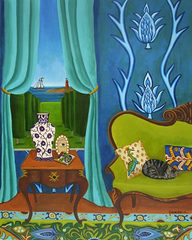 marthas vineyard, sialing, lighthouse, catherine nolin, art painting, room, interior, blue, cat sleeping,