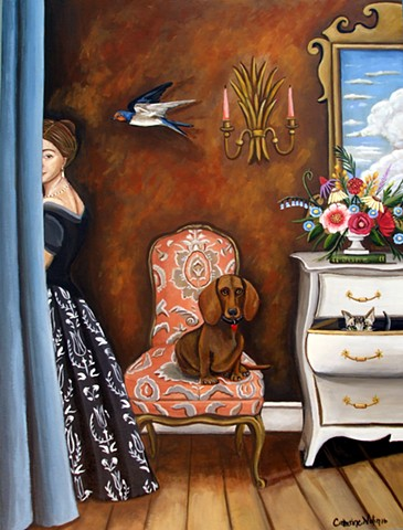 art, painting, cat, dog, thinker, flowers, botanicals , swallows, sargent, curtain, interior, paintings