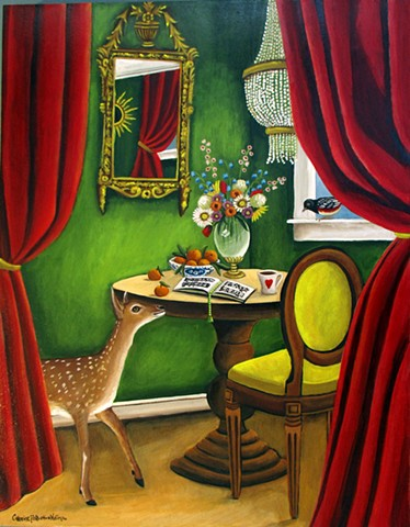 art, owl, Audubon, paintings, interior design, red curtain , deer painting, animal art, red curtains