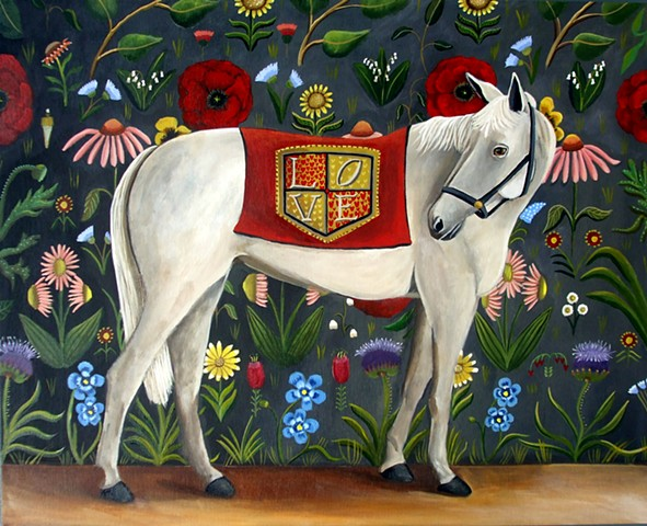 horse art, flowers, paintings, fine art, Love, equality, equestrian
