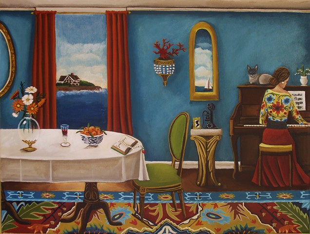 art, painting, piano, catherine nolin, sailboat, montauk, interior painting,
