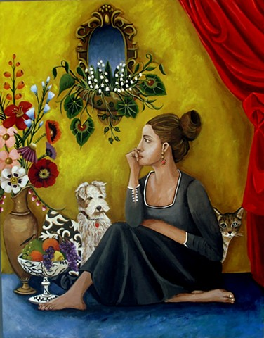 art, painting, cat, dog, thinker, flowers, botanicals ,