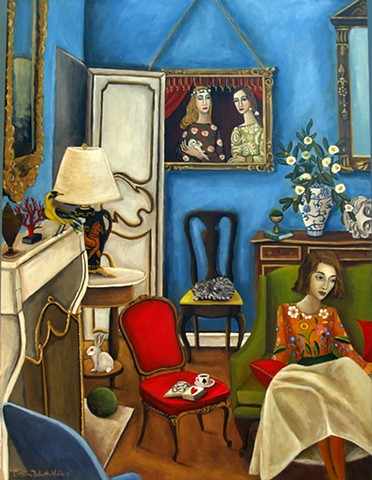 art, teacher, original painting, cat art, art studio, sculptures, catherine nolin, paintings, cheetah, cat art, interiors, blue room, feline art