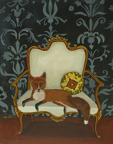 fox, painting, catherine nolin, art, french chair