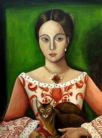 portrait art, renaissance art, queen, classical portrait, woman in art, Abyssinia cat,  magical art, cats feline