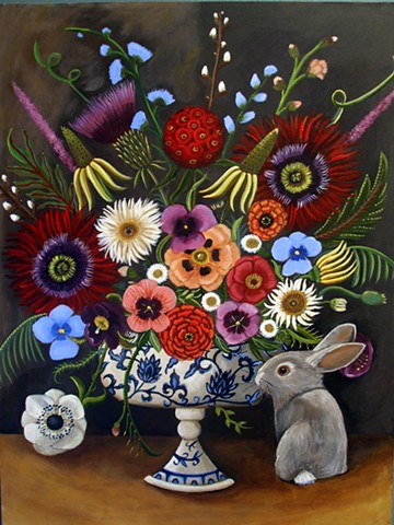 still life, flowers, pussy willows, catherine nolin, art, bunny