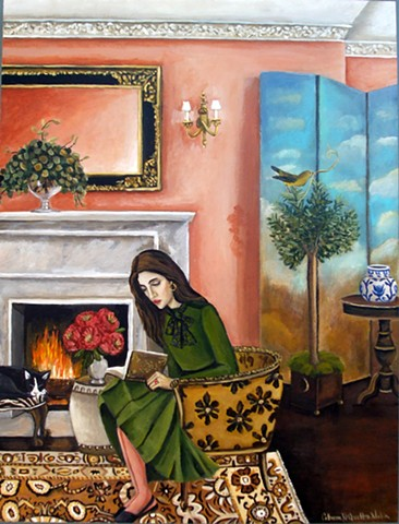 art, painting, books, reading, interior design, emerging artist, matisse, literature, pink interior, cats, catherine nolin