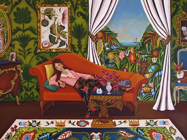 animal painting, art, catherine nolin, tiger, red fox, matisse, rosseau, interior view.