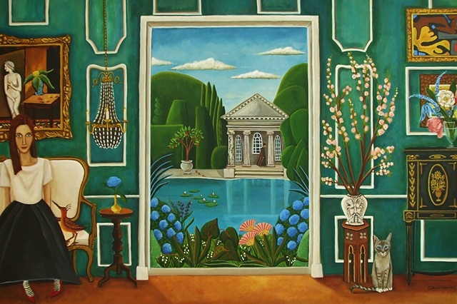 art, painting, catherine nolin, bird painting, botanical flowers, st. franicis, jade,