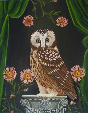 owl painting, catherine nolin, evening, art, original painting