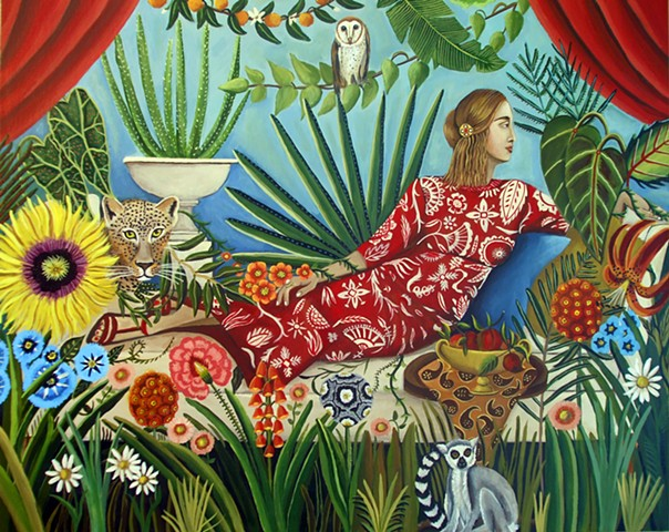 greek art, pose, botanical paradise, rosseau , catherine nolin, paintings, leopard, animal art, lemur