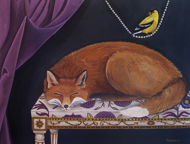 fox, painting, catherine nolin, art, french chair, pearls, gold finch.