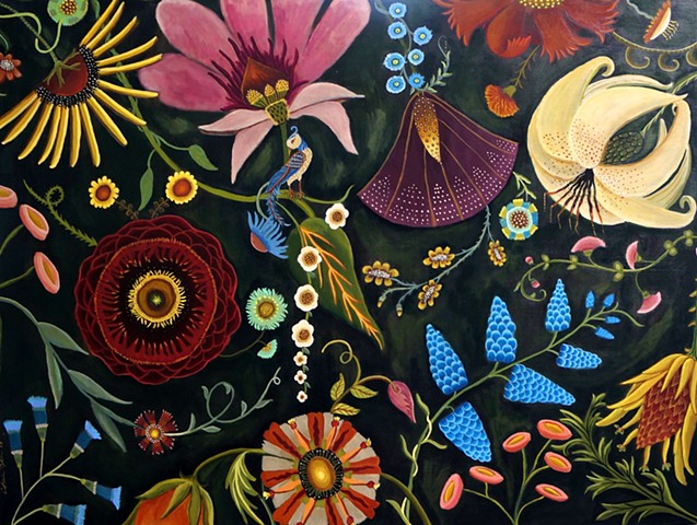 abstract flower, painting, art, catherine nolin, design, original painting, flowers. botanical