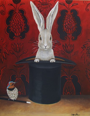 still life bunny art, animal painting, catherine nolin, original painting, top hat