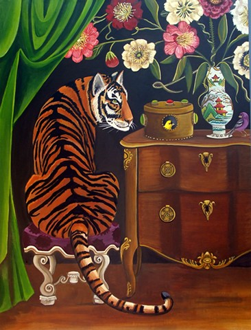 cats, leopards, painting, art, catherine nolin, interiors, clubs, tea, africa, cats, big cats, design, matisse