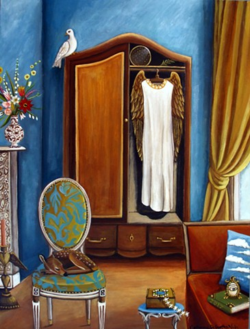 art, painting, peace, Guardian angels, rene magritte, armioure, andels, wings, holy, spirtual kindness, cats, animal art, still life, gold finch, mouse, catherine nolin, 2017, rooms, interior decorating, getting along