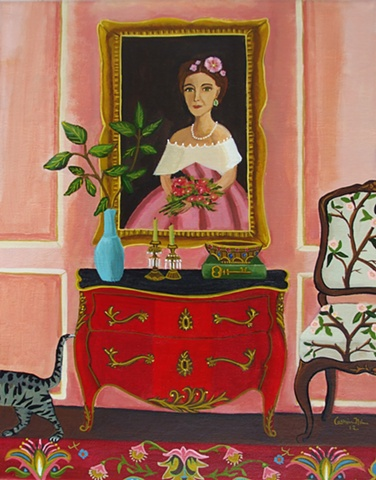 painting, catherine nolin, art, painting of room, tiger cat
