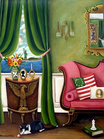 art, painting, women's rights, pussy cat, statue of liberty, fine art, pink couch, Betsy Ross flag, black cat, eagle,interiors,
