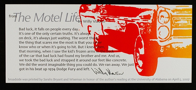 "Excerpt from ""The Motel LIfe"" by Willy Vlautin"