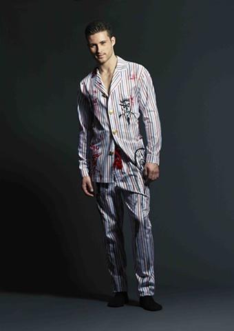 Red, White, Black, Blue Striped Graphic Pajamas