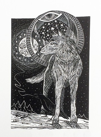 wolf moon rise raven