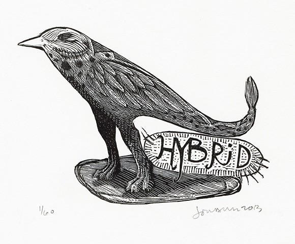 bird, monster, beast, engraving, hybrid, hybrid creature, relief engraving