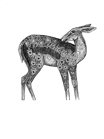 doe, deer, design, pattern