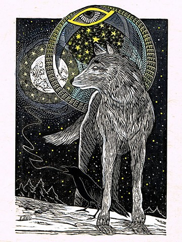 wolf, raven, moon, moonrise