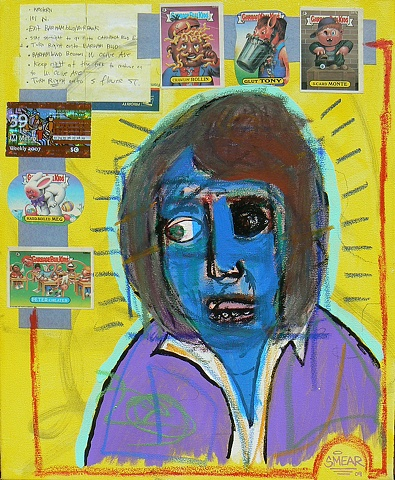 Painting of blue faced man with Garbage Pail Kids stickers along with hand written directions on how to get to an address in Burbank and a Metro weekly bus pass affixed to the background by Cristian Smear Gheorghiu