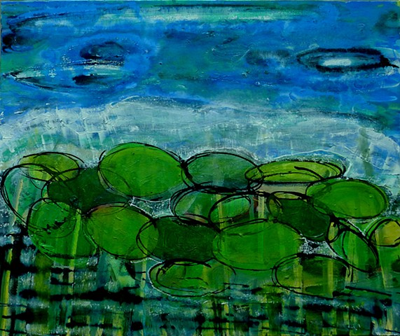 lily pads, pond, water, near the ocean