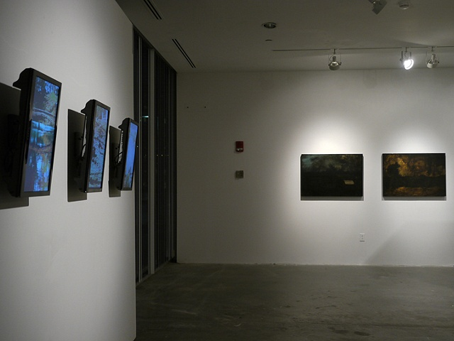 Installation View (Side) of Video Triptych