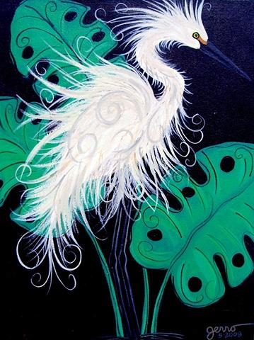Snowey Egret Art Deco