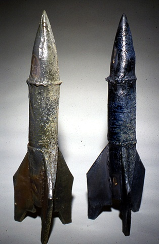 two wood fired rockets