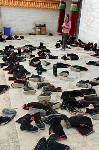 Shoes outside a Tibetian Temple in Labrang