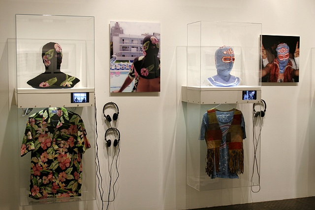 Everybody is Somebody's Terrorist Installation at Lyonswier Gallery detail of the American Tourist and Hippy displays