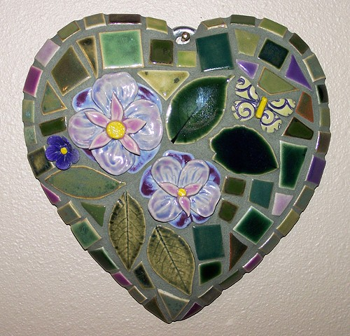 Handmade ceramic tile mosaic garden heart with lavender flowers