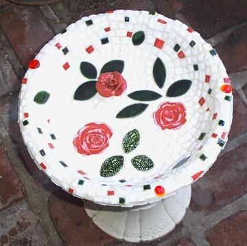 Three Roses Birdbath
