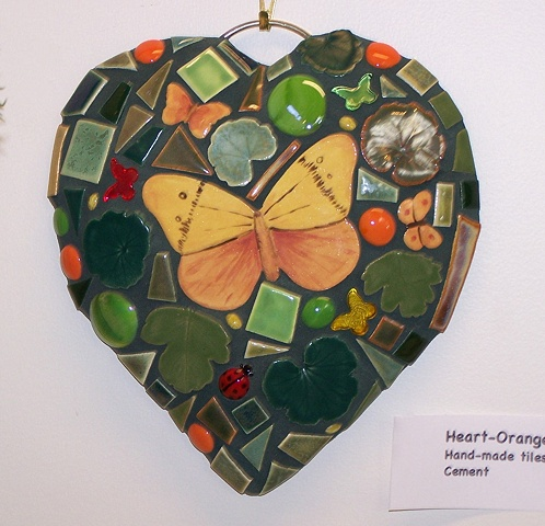 Mosaic cement garden heart with hand made ceramic tiles