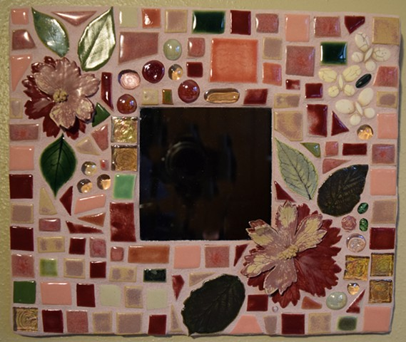 Handmade ceramic tile mosaic garden mirror with magenta flowers