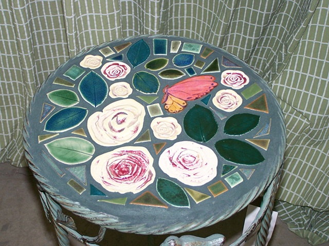 Hand made ceramic tiled table top Garden Table