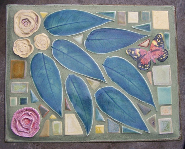 Hand made tile mosaic garden table
